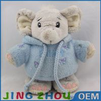 Doll manufacturers so cute love elephant wearing bule shirt with cartoon fabric doll for girl valentines