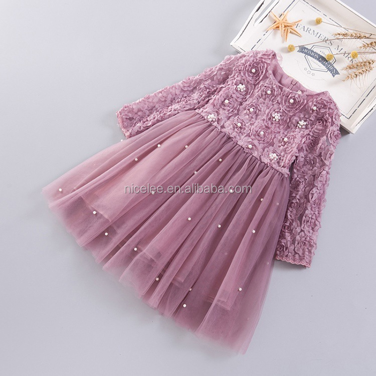 NS1482 wholesale kids girls long sleeves autumn beads puffy dreses