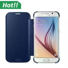For Samsung Galaxy S6 G9200 S6 Edge Funda Case Smart Sleep Protector Shell View Window Clear UV Mirror Case Filp Cover
