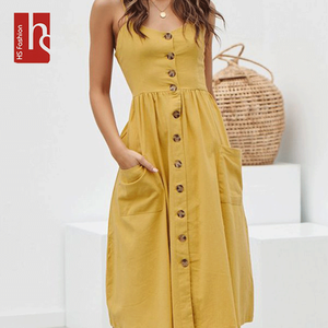 HS Fashion Polyester Sleeveless Bohemian Summer Women Casual Midi Dress with Button