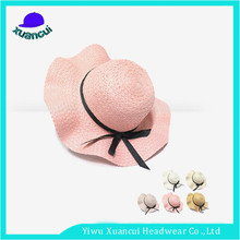 Custom Logo Printed Big Brim Summer Hats Cheap Wholesale Paper Ladies Floppy Straw Hats