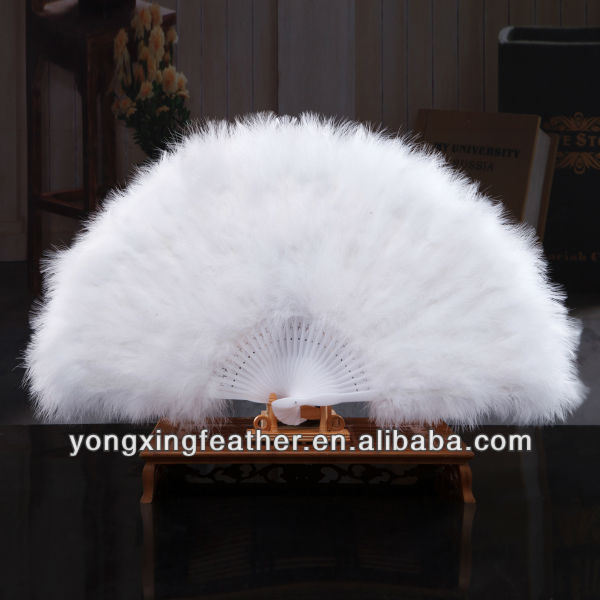 large white decorative feather hand fan