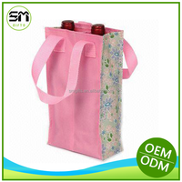 alibaba supplier custom logo portable plastic 2 bottle red wine bag