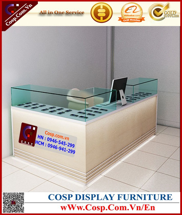 Modern natural wood glass store mobile phone display cabinet/display showcase kiosk