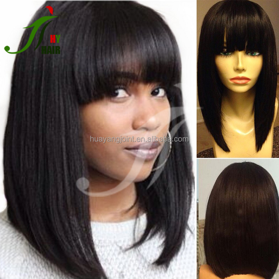 10-16 Inches Short Bob Human Hair Wigs with Bangs Brazilian Full Lace Bob Wigs for Black Women