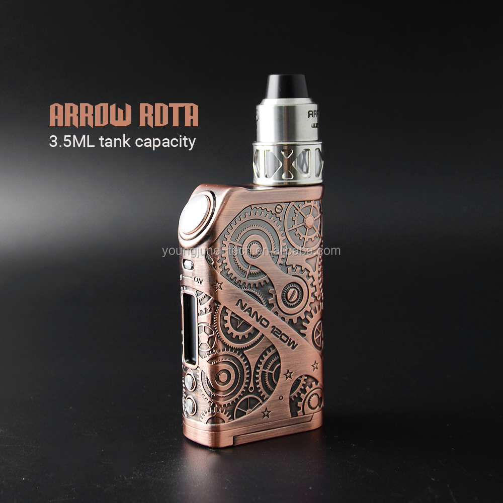 7-120W with dual 18650 batteries Teslacigs Steampunk Nano 120W for wholesale