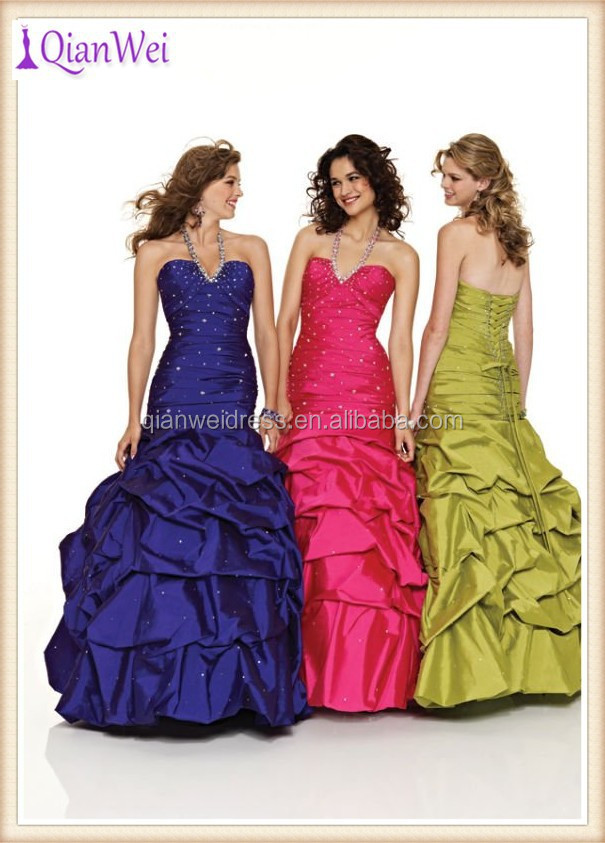 2015 wholesale long halter sequined lime green ruched taffeta corset back ball gown prom dresses for sale in china