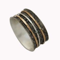 Eli Shaar Silver & Gold Combination spinner Ring Handcrafted Artisan contemporary jewelry