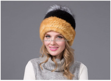 Elegant Woman Winter Fashion Design Mink Fur Hat Wholesale Custom Whole Leather Travel Fur Hat