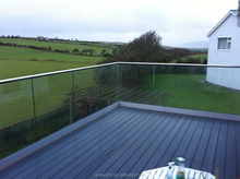 Balcony Tempered frameless glass balustrade channel with Stainless Steel Top Handrail