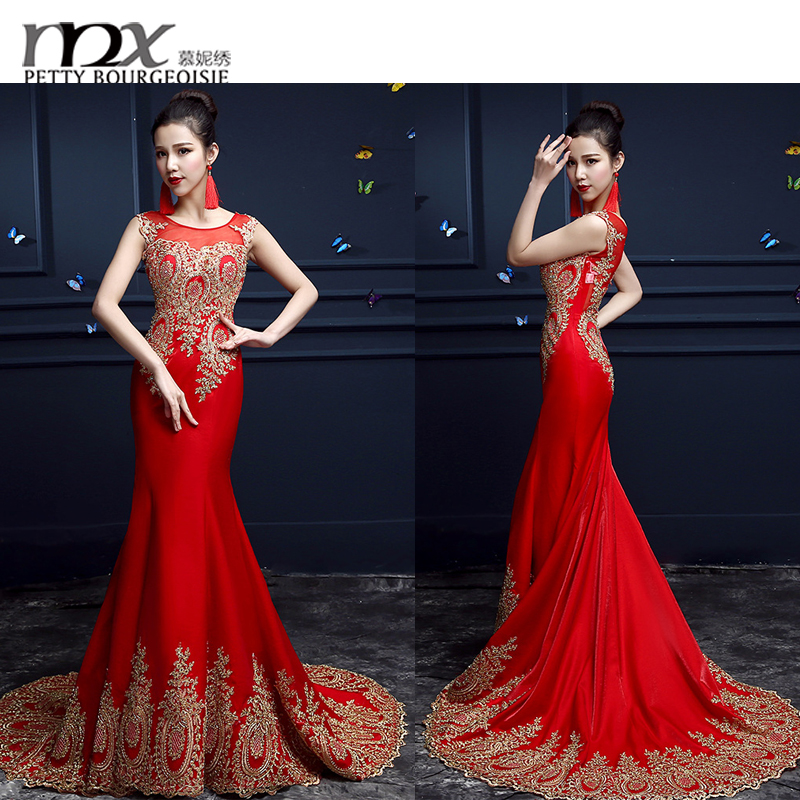 Pictures of latest gowns designs elegant red evening prom dresses 2016 long ball gown wedding dresses for party