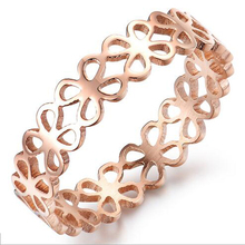 Drop Shipping 18K Rose Gold Plated Hollow Clover Ring Design