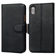 Slim folio flip back genuine leather wallet phone case for iPhone X with card holder