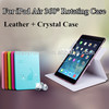 HIGH QUALITY GENUINE BLING CRYSTAL + LEATHER FOR IPAD AIR CASE COVER - LUXURY SLIM THIN STYLE
