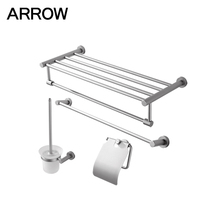 4 pieces space aluminum bathroom accessories chrome finish bath hardware set sanitary ware set hangzhou
