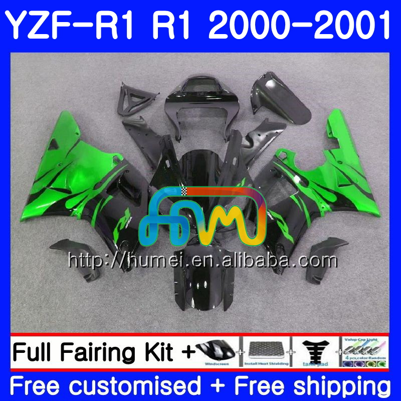 Bodywork For YAMAHA YZF 1000 green flames YZF-<strong>R1</strong> 2000 2001 Body 98HM51 YZF1000 YZF R 1 YZFR1 <strong>00</strong> <strong>01</strong> YZF-1000 YZF <strong>R1</strong> <strong>00</strong> <strong>01</strong> Fairing
