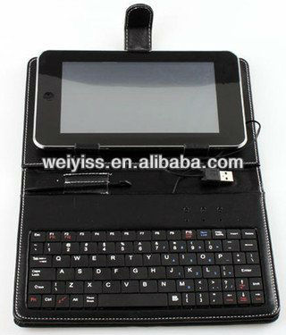 USB Keyboard for 7 inch Tablet Android PC With Black Leather Style Cover Case