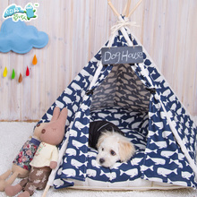 Pets Supplies Stripe Canvas Indian Tents Nature Wooden Cat House Dog Pet Tent Teepee