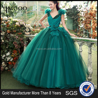 MGOO Elegant Green Feather Deep V Prom Dress Ball Gown Tulle Voile Special Design Quinceanera Party Dress Z-04