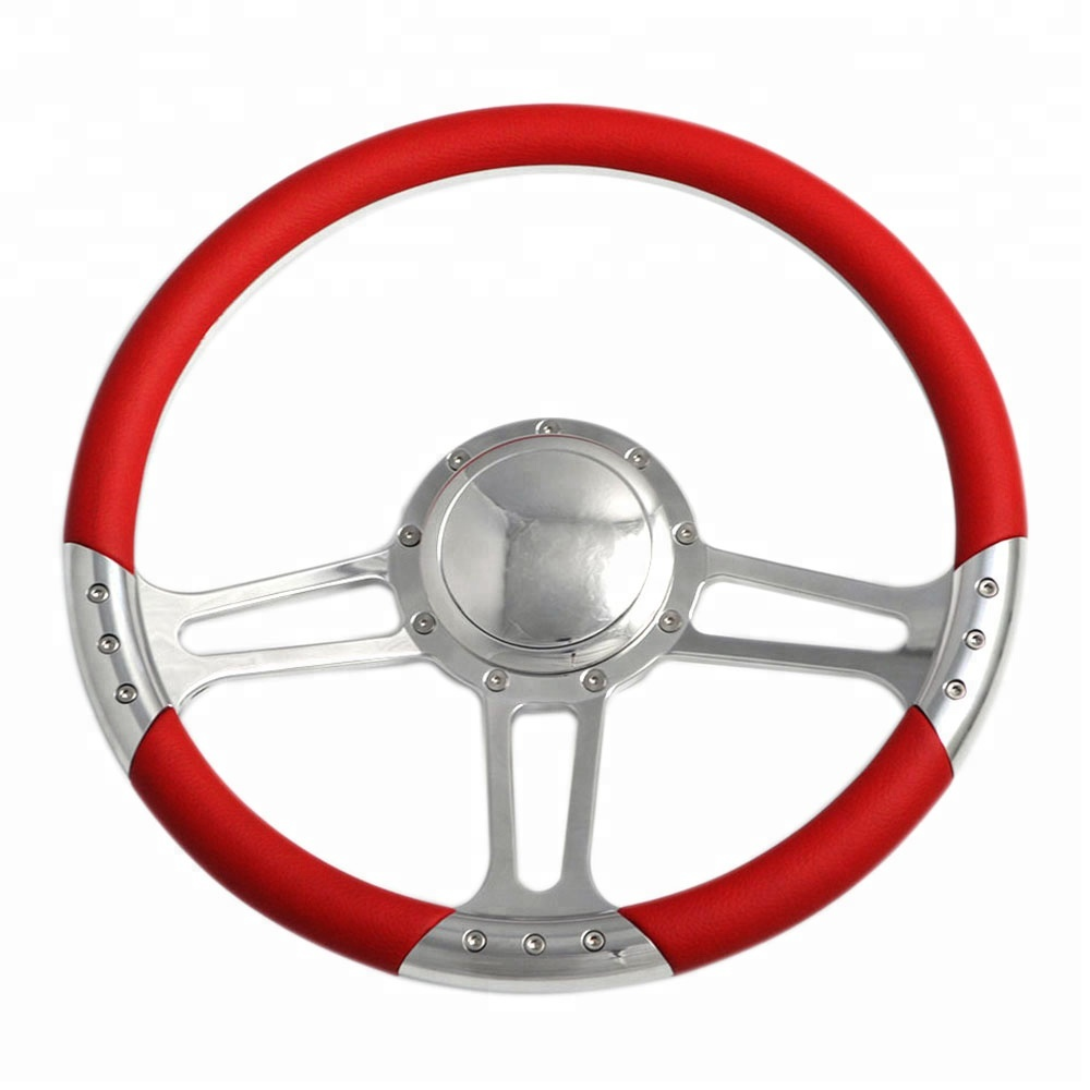 China 14 Inch Polished Billet Steering Wheel with Full Leather Wrap and Horn Button