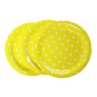 Yellow Dot Pattern Round Paper Food Plates 23.0cm