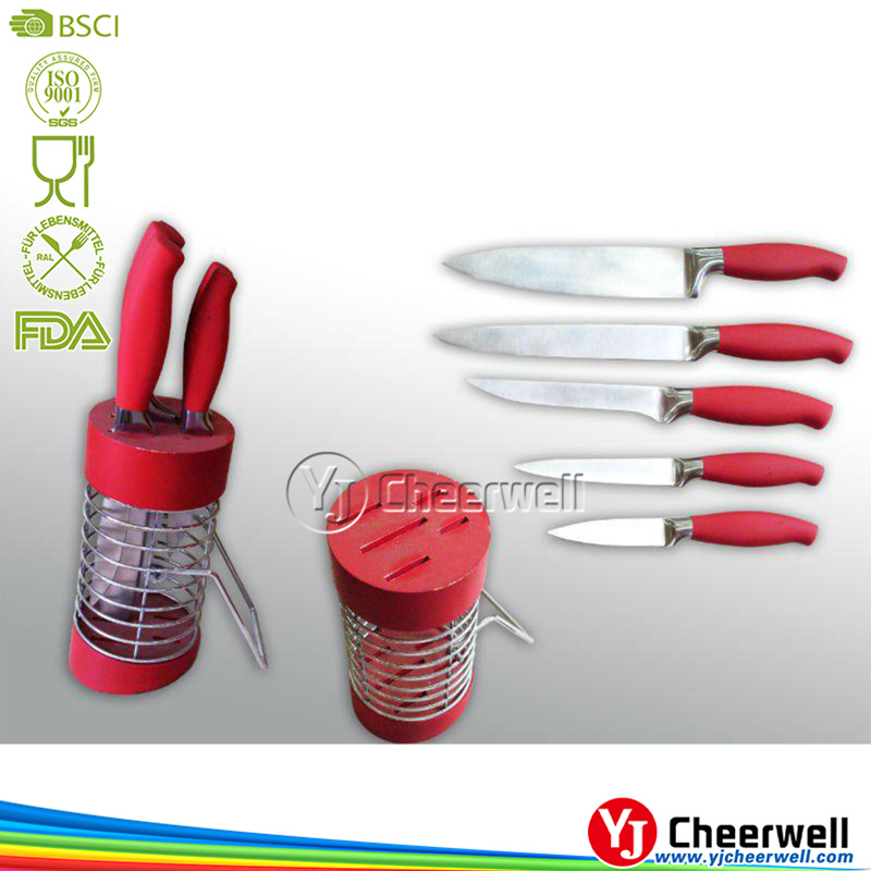 5pcs kitchen knives in red handle, knife set kitchen