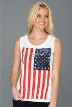 Zhejiang Yiwu Printing Factory wholesale 180g 100% cotton comfort american flag tank top