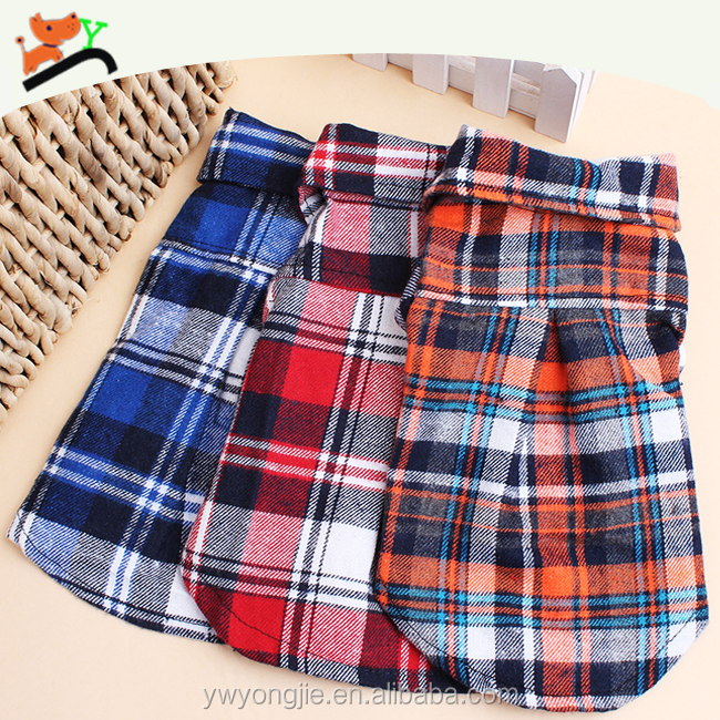 Cool Cheap Dog Clothes For Bangkok Cotton Grid Pet T-shirt Dog Coat For Small Dogs