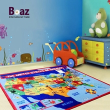 Baby kids educational game mat play mat US map cartoon pattern printed floor mat rug carpet