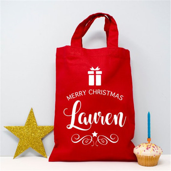 Wholesale Personalized Recyclable Red Christmas Gift Tote Bag Cotton Canvas