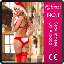 Good Quality White Santa Claus Erotic Lingerie Sexy Costume with Stocking
