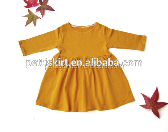 New arrival baby girl frocks yellow simple toddler girl cotton frock design