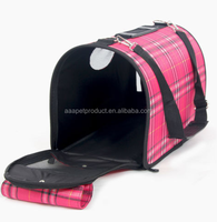 Plaid Pet Outdoor Carrier Soft Sided Cat / Dog Comfort Travel Bag Crates Kennel