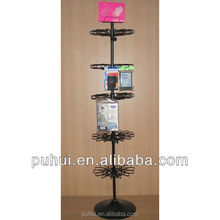 floor standing retail promotion metal wire display rack spinner with lock hook