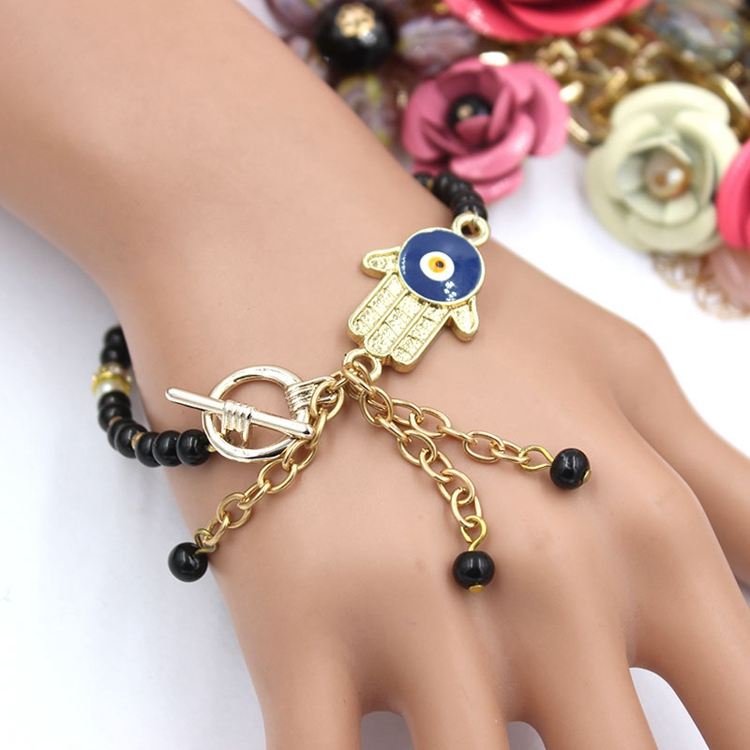 Alibaba Express Turkey Handmade Gold Hamsa Black Bead Evil Eyes Bracelet Wholesale