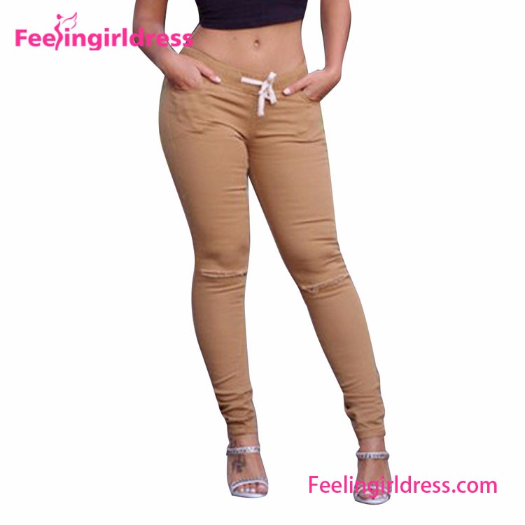Women Tight Knee Hole Long Legging In Stock Khakis And Co Women Pants