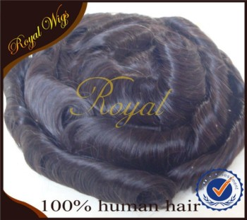 Remy hair black natural Indian hair full PU men wigs/toupee/replacement systerms