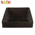 handwoven plastic rattan storage baskets to fruits and vegetables