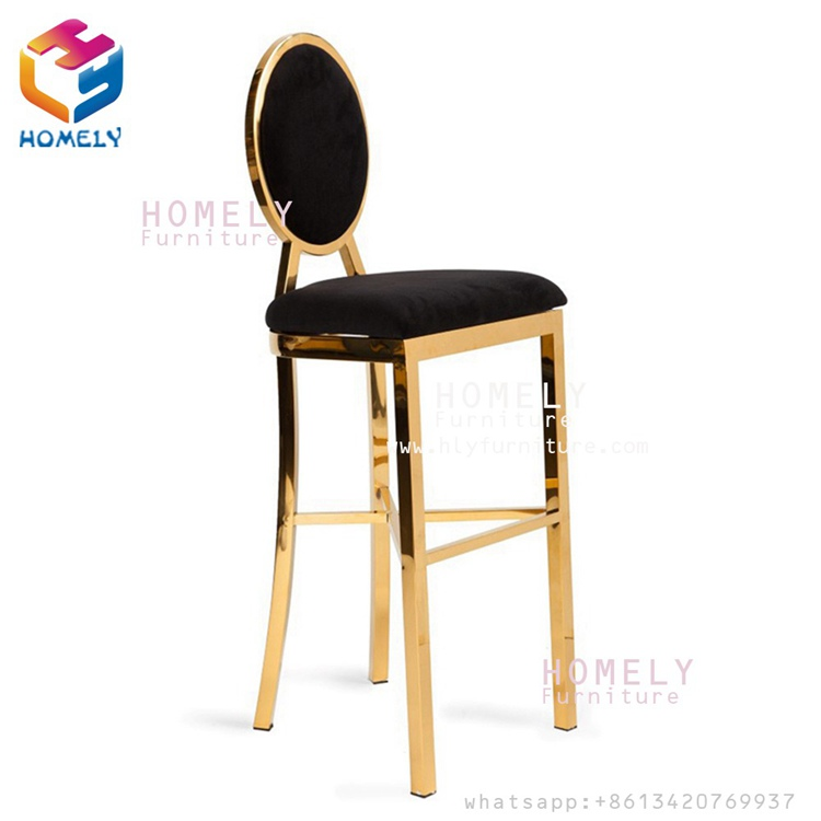 Modern new design hotel hall banqurt party wedding bar rose gold silver white black PU stainless steel high bar chairs