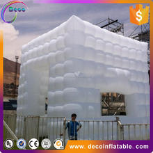 Large bubble marquee with LED lights, white inflatable cube tent