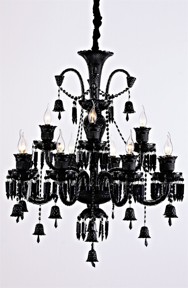 Top Sale glass pendant lamp black k9 crystal chandelier