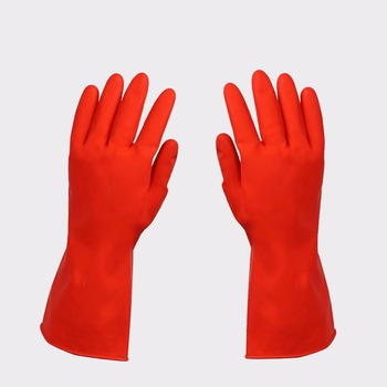 warm Latex cleaning rubber gloves with cotton lining inside jiangsu manufacture