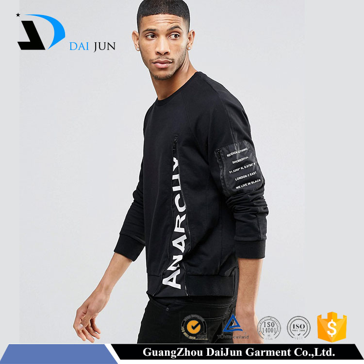 Guangzhou newest design printed black men with zip black without hool 100 cotton xxl hoody