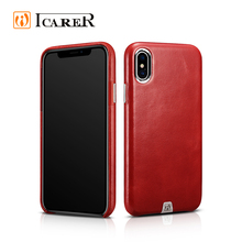ICARER Hot Selling Genuine Cow Leather Transformer Vintage Back Case for iphone X Cover, OEM Leather Case for iPhone X