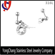 New Arrival Fashion Silver Cartilage Piercing Stud Earrings with Jeweled O Shaped