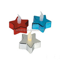 Star Shaped Tealight Candles/Electroplating Color Led Tealight Candles/Red Blue Silver Tealight Candles