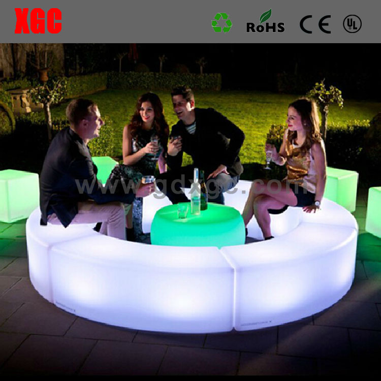 Manufacturer lastic LED light up chair with remote control 16 mix changeable colors/led bar stool make chairs and table& cushion