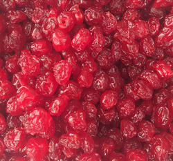 Natural dried red fresh sour cherries , maraschino cherries
