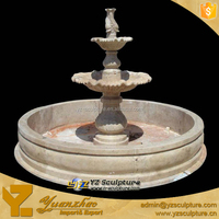 decorative round carved stone 3 tiered water fountain statue