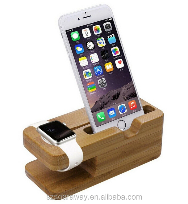 Wholesale Wood Charging Station For Cell Phone, Charger Holder For Watch Bamboo Charging Stand Station